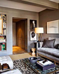 Warm grey gray living room- South Shore Decorating Blog