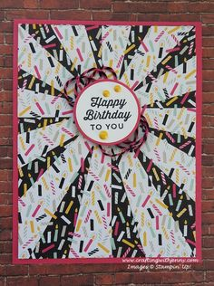 Card of the Day -- features Stampin' Up!'s Sunburst Sayings Bundle and It's My Party Designer Series Paper Stack. A full supply list and step-by-step tutorial available here! Bday Cards, Birthday Cards For Men, Happy Birthday Crafts, Birthday Diy, Birthday Wishes, Stamped Christmas Cards, Birthday Card Sayings, Scrapbooking, Stamping Up Cards