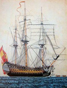 El navío 'San Telmo' con la nueva bandera (Museo Naval Ms-2530)