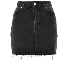 Women's Topshop Frayed Hem Denim Miniskirt ($55) ❤ liked on Polyvore featuring skirts, mini skirts, washed black, ripped skirt, topshop skirts, distressed skirt, short a line skirt and denim mini skirt