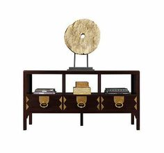 KEYSER MEDIA CONSOLE Acquisitions by Henredon Description Three drawers beneath open areas. Triple electrical outlet on back side. Interior dimensions of each open area: in. Sideboard Furniture, Furniture Decor, Furniture Design, Chinese Furniture, What's Your Style, Chinoiserie Chic, Great Rooms, Console, Davids Furniture