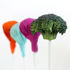 """Trick the kids on April Fool's Day: """"Lollipops"""" that are really broccoli."""