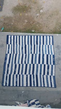 The Stitching Project Picnic Blanket, Outdoor Blanket, Hand Spinning, Hand Stitching, Indigo, Hand Weaving, Applique, Quilting, Textiles