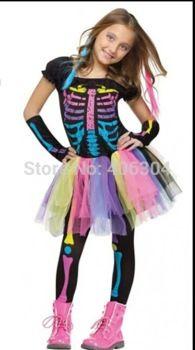 Gratis verzending, halloween party kostuum, meisje jurk kinderen regenboog kleurrijke afdrukken skelet, trouses en mouw dekt
