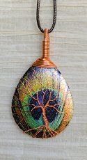 Tree of Life Copper Wire Wrapped Peacock Feather Printed Metal Slice Pendant