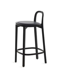 Woodnotes Siro+ bar stool, oak and stained black, black painted footrest, seating height 65 cm, black leather upholstered seat.  The Siro+ barstool was one of the 2018 winners in the German Design Award's Excellent Product Design category. The honour is handed out by the German Design Council, a leading competence centre for design promotion.