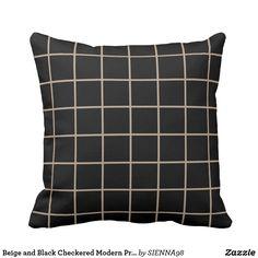 Beige and Black Checkered Modern Print