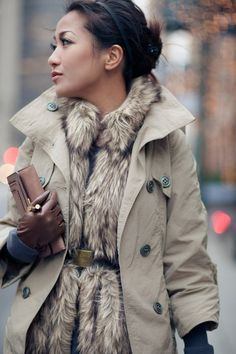 Pairing Idea: layering with a fur vest. Belt a faux fur vest under a structured coat to create warmth and shape. Fall Winter Outfits, Winter Wear, Autumn Winter Fashion, Sweater Weather, Fur Fashion, Womens Fashion, Fashion Trends, Wendy's Lookbook, Winter Looks