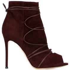 Gianvito Rossi Teva Ankle Boots ($854) ❤ liked on Polyvore featuring shoes, boots, ankle booties, heels, suede ankle boots, suede bootie, peeptoe booties, peep toe bootie and burgundy suede booties