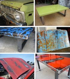 """These tables designed by Joel Hester are simply amazing. He takes hoods and other metal bits off of old, rusted-out cars and turns them into amazing tables, while preserving the unique character of each piece of metal. Every table has dings and rust spots and all sorts of lovely little bits of character"