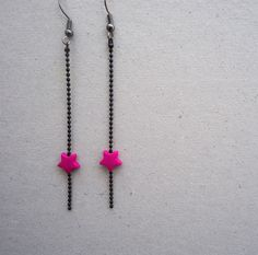 boucles ETOILES roses / chaine billes noire by CHIC & BAM