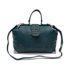 Shop for Stud Flap Bag in Emerald Green.This stud is no dud! Hinged handbag with a studded flap closure and four corner hardware.Features includeFaux leather exteriorHinged opening with studded flap closureMagnet snap fastener4-corner hardwareExterior zip pocketCheetah print polyester lining2 interior slip pockets, wall zipper, zip pocket dividerDetachable crossbody strapDimensions L 14.5 x W 6 x H 10