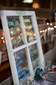 A sweet barn wedding with a string band | Offbeat Bride - love this menu idea!