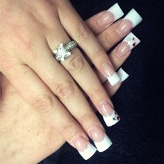 Nail Designs by Jamie! Long pink and whites! #backscrathers