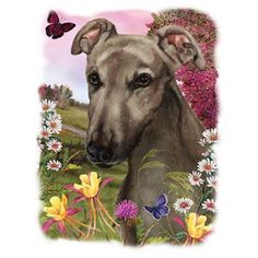 Greyhound Floral Dog T SHIRT, Sweatshirt, Quilt Fabric Block  Item no. 852 by AlwaysInStitchesCo on Etsy