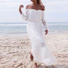 Women Sexy Lace Maxi Long Dress 2017 Ladies Slash Neck Off Shoulder Flare Sleeve Patchwork Beach Party White Dresses Vestidos #Affiliate