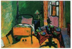 Wassily Kandinsky ~ Slaapkamer in de Ainmillerstraße ~ 1909 ~ Olieverf op karton ~ Städtische Galerie im Lehnbach Haus, München ~ © 2016 Artists Rights Society (ARS), New York / ADAGP, Paris
