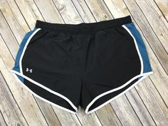 Women's Under Armour Fly-By Performance Running Shorts Black Blue Sz. L #Underarmour #Shorts