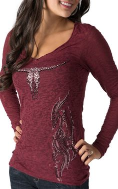 Cowgirl Hardware Women's Maroon Studded Skull and Fire Long Sleeve Burnout Tee