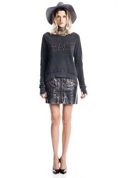Pam & Gela | Fall 2015 Ready-to-Wear | 24 Grey message studded long sleeve sweatshirt and leather mini skirt