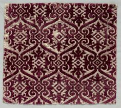 Velvet Brocaded Textile, late 1500s Italy, late 16th century velvet (brocaded), Overall - h:36.20 w:40.00 cm (h:14 1/4 w:15 11/16 inches). Dudley P. Allen Fund 1918.903