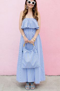 Blue White Stripe Off Shoulder Ruffle Dress