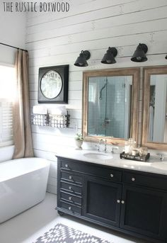The Rustic Boxwood shares on Country Living how she renovated her builder-grade bathroom into a modern, farmhouse style haven!