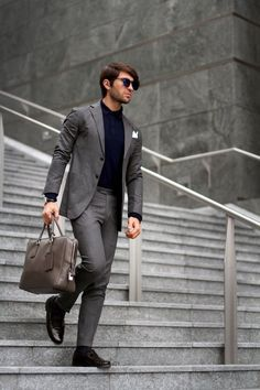 Perfect Office look in Grey Blazer, Navy Polo, Grey Dress Pants and a pair of Drak Brown Leather Driving Shoes Gentleman Mode, Gentleman Style, Mens Fashion Suits, Mens Suits, Grey Suits, Fashion Menswear, Grey Dress Pants, Men Dress, Grey Trousers
