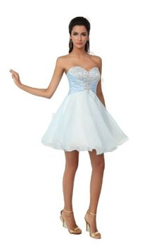 Winey Bridal Strapless Light Sky Blue Homecoming Dresses Organza Short Corset Prom Party Gowns:Buy New: $109.99 (On sale from $179.99)- $119.99 (On sale from $199.99)