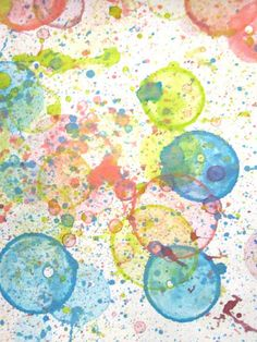 DIY : Bubble Prints -  Add food coloring to regular bubbles. As they pop on the paper, it makes this cool print.