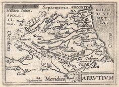 """Aprutium (Antwerp 1598) Raffinata piccola mappa dell'Abruzzo tratta dall'opera """"Epitome du Theatre"""" Di Abraham Ortelius pubblicata ad Anversa nel 1598 con testo francese al verso. L'autore delle incisioni in rame e' Philippe Galle."""