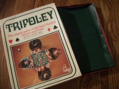 "Tripoley Game - the Game of Kings and Queens Fast paced card and chips game. Similar to Michigan Rummy, Hearts, and Poker Multi-player game  1969 Deluxe Edition NO.111 by  Cadeco Ellis, made in the USA Game contains 25"" square green vinyl playing mat and instructions/game rules printed on the inside lid.  Standard playing cards and chips are needed for play. Original box is shelf worn and mildly tattered but with no broken corners. Mat is in very good condition with no tears, stains, marks…"