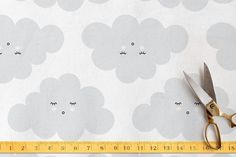 Cotton Cloudy Fabric by Up Up Creative for Minted