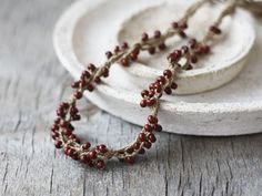 Linen beaded necklace Brown Fall fashion by 100crochetnecklaces