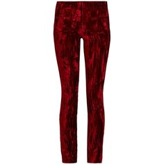 Haider Ackermann Madame skinny-leg velvet and leather trousers (€1.755) ❤ liked on Polyvore featuring pants, trousers, red, velvet trousers, red skinny pants, super skinny pants, side stripe pants and skinny fit pants