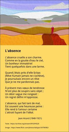 L'absence – Jean Aicard Citation Silence, Silence Quotes, French Poems, French Quotes, French Language Lessons, French Lessons, Texte En Prose, L Absence, French Flashcards