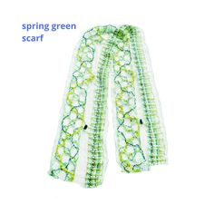 Lace Scarf, Green Wool, Bobbin Lace, Textile Artists, Spring Green, Floral Tie, Boho Fashion, Mixed Media, Scarves