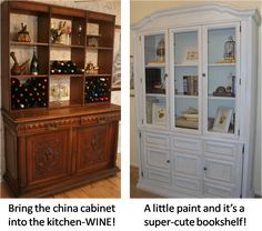 Repurposed China Cabinet On Pinterest China Cabinets Cabinets And China Cabinet Redo