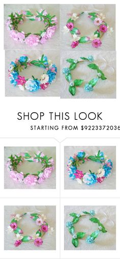 """""""Fairy crown Pink Rose crown Big Rose headpiece / Flower crown/"""" by quotetee ❤ liked on Polyvore"""