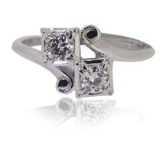 14K-White-Gold-Round-Cut-Vintage-Old-Miners-Diamond-Ring-0-40-ct