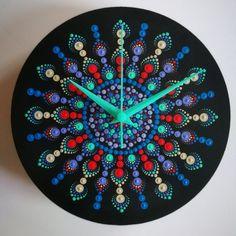 Items similar to Colorful Mandala Dotted Wall Clock on Etsy Dot Painting Tools, Clock Painting, Clock Art, Dot Art Painting, Painting Workshop, Ceramic Painting, Mandala Art, Mandala Design, Mandala Painting