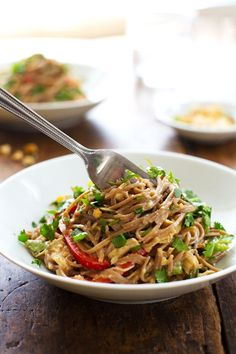 Spicy Peanut Chicken Soba Noodle Salad - colorful bell peppers with chewy soba noodles, shredded chicken, and a life changingly simple Spicy Peanut Sauce. Hot or cold, yumyumyum. 320 calories. | pinchofyum.com
