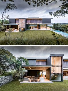 A New Contemporary House In Durban Is Surrounded By A Coastal Forest The house seeks to seamlessly blend indoor and outdoor living, and was designed to take advantage of the sub-tropical Durban climate. Modern Architecture House, Modern House Design, Architecture Design, Modern Tropical House, Tropical Architecture, Pavilion Architecture, Residential Architecture, Modern Exterior, Exterior Design