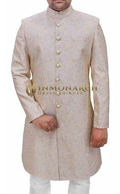 b844397e9fa9 Mens Ivory Brocade 2 Pc Sherwani Paisley Pattern  sherwani  weddingsherwani   groom  groomsherwani