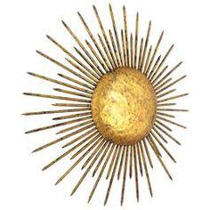 1940s French Hand-Hammered Iron Gold Leaf Gilt Sunburst Light Fixture