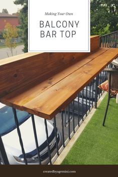Step by step making a balcony table bar top. Use this on your balcony railings, great for apartments, rentals and small spaces. Step by step making a balcony table bar top. Use this on your balcony railings, great for apartments, rentals and small spaces. Small Balcony Decor, Small Outdoor Spaces, Small Spaces, Balcony Decoration, Small Balcony Furniture, Porch Bar, Patio Bar, Outdoor Bar Table, Table Bar