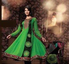 ->Green churidar kameez with dupatta. ->Work - Lace work, multi, stones and resham. ->Fabric - Velvet and faux georgette. Churidar, Salwar Kameez, Salwar Suits, Ethnic Fashion, Indian Fashion, Green Fashion, Indian Suits Online, Pakistani Bridal Wear, Sherwani