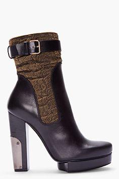 Lanvin Black Metalilc Platform Ankle Boots for Women | SSENSE #shopstylefavorites