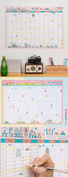 Put up the cutest wall calendar in a conspicuous place and manage your plans and projects effectively! With adorable artworks drawn here and there, this calendar will make a good decoration to your place!