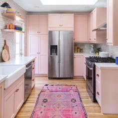 Eclectic Kitchen by Semihandmade using DIY shaker doors and custom oak floating shelves - Kitchen Ideas Eclectic Kitchen, Home Decor Kitchen, Kitchen Interior, New Kitchen, Kitchen Ideas, Design Kitchen, Pink Kitchen Designs, Kitchen Small, Kitchen Inspiration